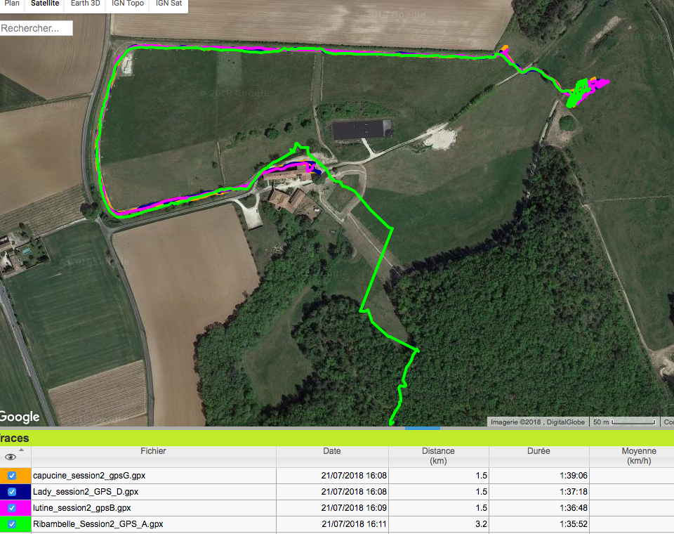 tracé GPS cheval